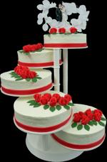 Hochzeitstorte Treppen-Etageren: Etagere Classic Rot in Sahne
