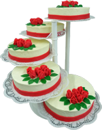 Hochzeitstorte Treppen-Etageren: Classic rotes Marzipandekor