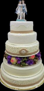 Hochzeitstorte Echte Blumen: Hortensie Multicolored