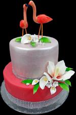 Hochzeitstorte Englischer Aufbau: Flamingo Pride