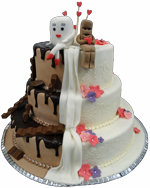 Hochzeitstorte Englischer Aufbau: Milch und Schokolade