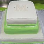 Hochzeitstorte Englischer Aufbau: Green an White Square