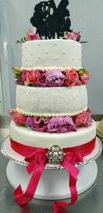 Hochzeitstorte Echte Blumen: Pink Paisley